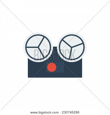 Cinema Tape Icon Flat Symbol. Isolated Vector Illustration Of Movie Reel Sign Concept For Your Web S