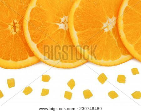 Fresh Orange Slice And Small Pieces On White Background