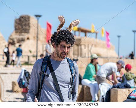 Caesarea, Israel, March 03, 2018 : A Visitor Of The Purim Festival In Caesarea, Israel