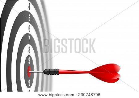 Vector Red Dart Arrow Hitting In The Target Center Of Dartboard. Metaphor To Target Success, Winner