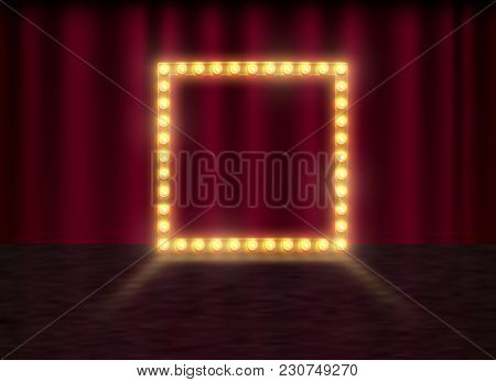 Square Frame With Glowing Shiny Light Bulbs, Vector Illustration. Shining Party Banner On Red Curtai