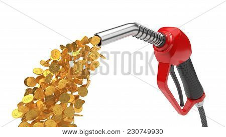 Red Fuel Nozzle Pumping Gold Coins. 3d Illsutration. Isolated On White