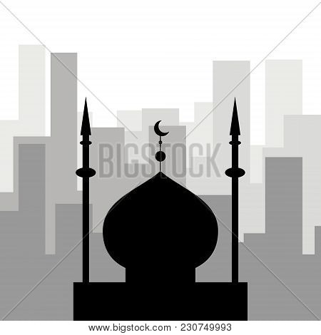 Religion In The City. Black Icon Of The Mosque Against The Background Of City Skyscrapers