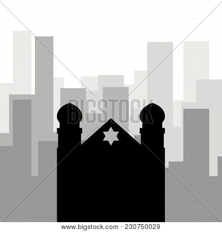 Religion In The City. Black Icon Of The Synagogue Against The Background Of City Skyscrapers