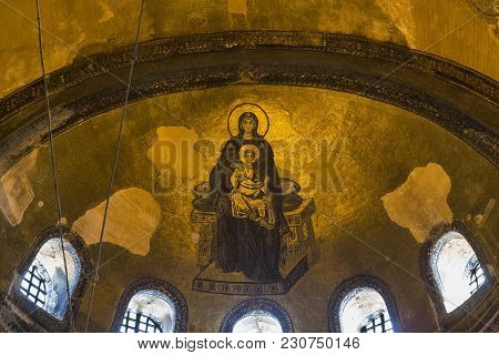 Istanbul, Turkey - September 11, 2017: This Is The Mosaic Image Of The Virgin In The Apse Of The Hag