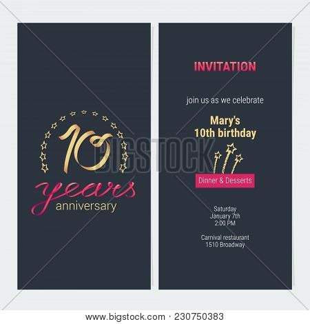 10 Years Anniversary Invitation To Celebration Vector Illustration. Graphic Design Element With Eleg