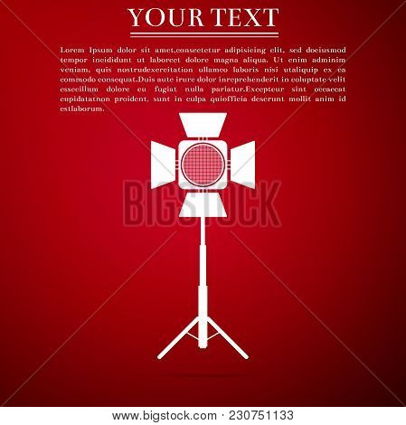 Movie Spotlight Icon Isolated On Red Background. Light Effect. Scene, Studio, Show. Flat Design. Vec