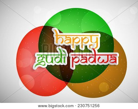 Illustration Of Happy Gudi Padwa Text On The Occasion Of Hindu Festival Gudi Padwa