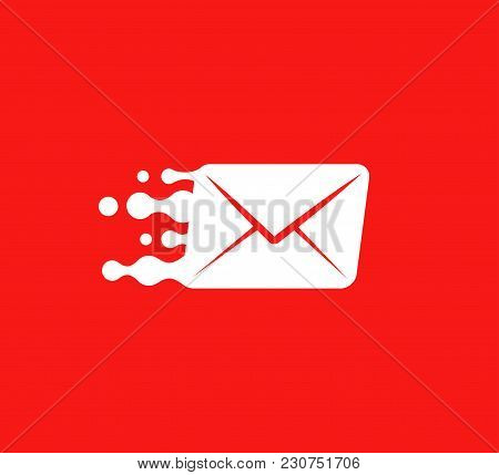 White Post Envelope Vector Logo Concept On Red Background. Isolated Parcel Template For Logistic Com