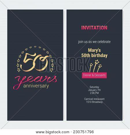 50 Years Anniversary Invitation To Celebration Vector Illustration. Graphic Design Element With Eleg