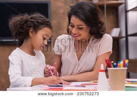 African American Mother And Daughter Drawing Greeting Card On Mothers Day