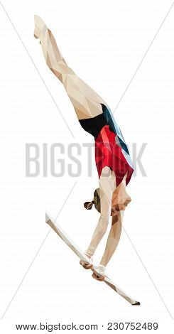 Female Gymnast In Uneven Bars Is Artistic Gymnastics