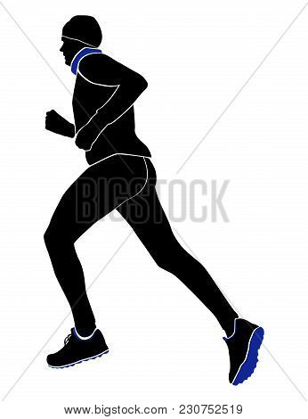 Male Runner Run Cold Weather In Winter Hat, Gloves And Scarf