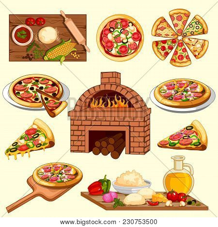 Easy To Edit Vector Illustration Of Pizza Making And Ingredient With Baking Oven