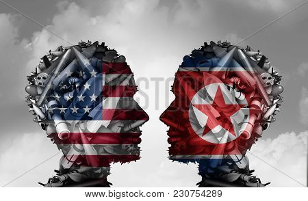 North Korea And United States Talks Facing Nuclear Tensions As A Meeting With Two Groups Of Bombs An