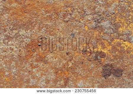 High Detail Corroded Rusty Surface With Red And Yellow Fungus Spots