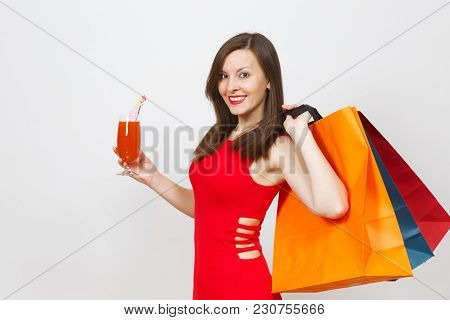 Attractive Glamour Fashionable Young Woman In Red Dress Holding Glass Of Drink Cocktail, Multi Color