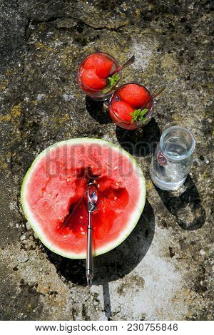 Summer Watermelon Drink Or Sorbet. On The Street On A Hot Summer Day