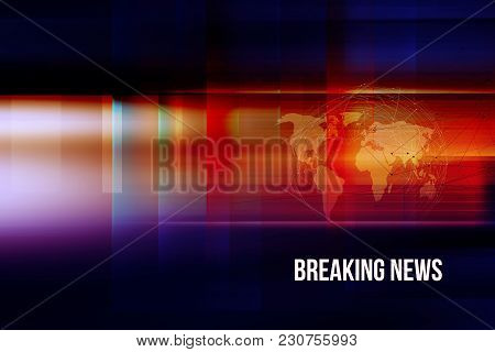 Graphical Breaking News Background With World Map And Connection Lines. 3d Illustration