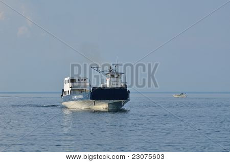 Ferry Boat Motoring On Lake Superior