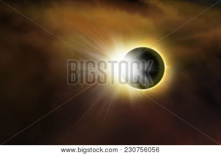 Solar Eclipse .  Light From Sky . Religion Background . Total Solar Eclipse With Visible Corona