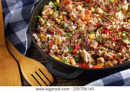 Close-up Of  Beef And Long Grain Rice