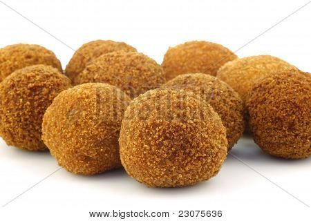 "A real traditional Dutch snack called ""bitterballen"" on a white background poster"