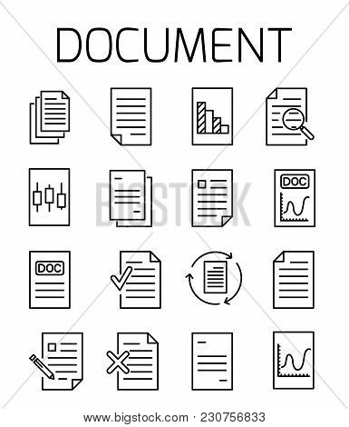 Documentl Related Vector Icon Set. Well-crafted Sign In Thin Line Style With Editable Stroke. Vector