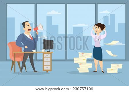 Angry Boss Shouting At Female Employee With Documents At Office.