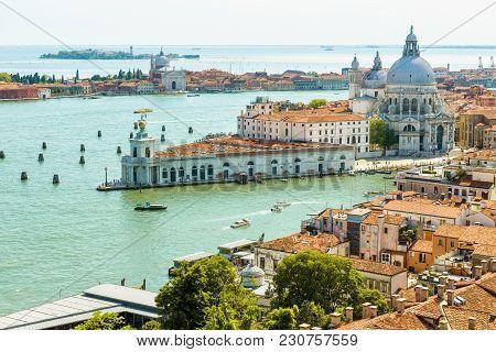 Aerial View Of Venice In Summer, Italy. Basilica Di Santa Maria Della Salute, Grand Canal And Sea. V