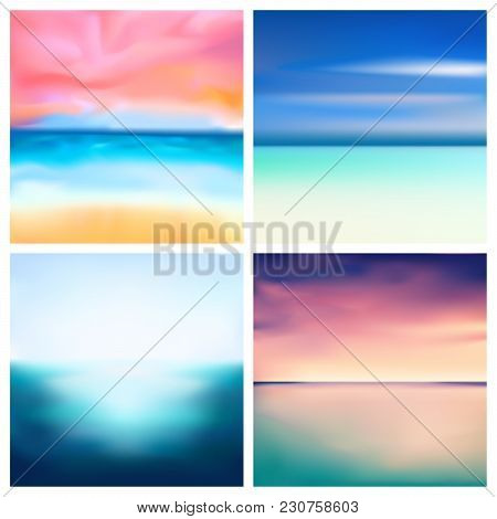 Abstract Vector Nature Blurred Background Set. 4 Colors Set. Square Blurred Nature Backgrounds Set -