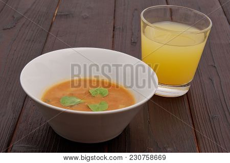 Oyster Mushroom Soup With Vegetables On Table