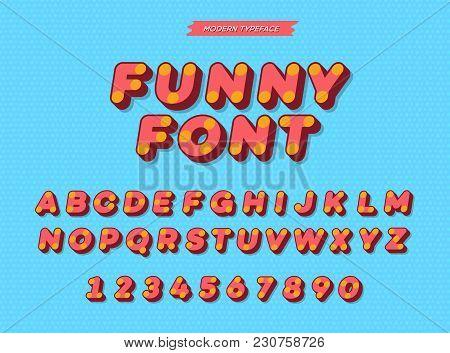 Vector Slanted 3d Sans Serif Alphabet. Colorful Font Modern Typography For Kids Book, Greeting Card,