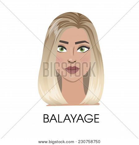 Balayage Hair Illustration. Isolated Woman With Balayage.