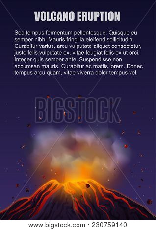 Volcano Eruption With Lava Poster Concept. Vector Illustration