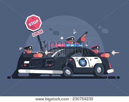 Police Patrol Fires From Behind Car. Attack Of Criminals. Vector Illustration