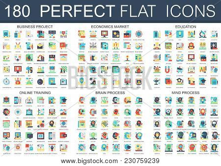 180 Vector Complex Flat Icons Concept Symbols Of Business Project, Economics Market, Education, Onli