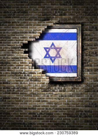 3d Rendering Of An Israel Flag Over A Rusty Metallic Plate Embedded On An Old Brick Wall