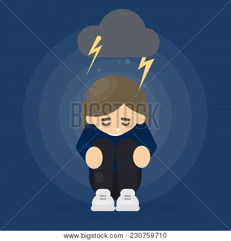 Woman In Depression Sitting And Crying Under Grey Cloud With Lightening.