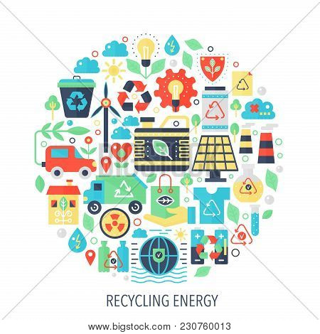 Recycling Green Energy Flat Infographics Icons In Circle - Color Concept Illustration For Recycling