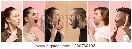 Angry People Screaming. The Collage Of Different Human Facial Expressions, Emotions And Feelings Of