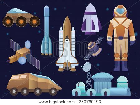 Spacecrafts, Colony Building, Rocket, Cosmonaut In Space Suit, Sattelite And Mars Robot Rover Set. V