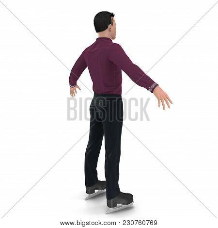 Figure Skater On White Background. 3d Illustration