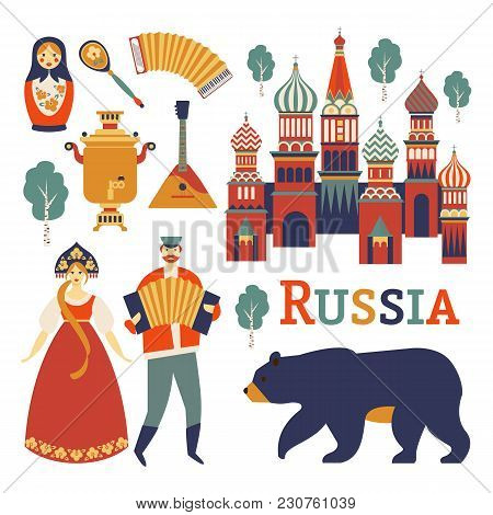 Russia Icons Set. Vector Collection Russian Culture And Nature Images, Including St. Basil S Cathedr