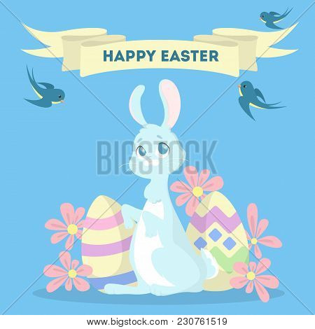Happy Easter Greeting Card With Bunny And Eggs.