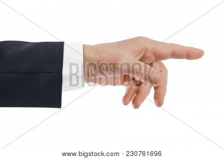 Pointing hand isolated on white background