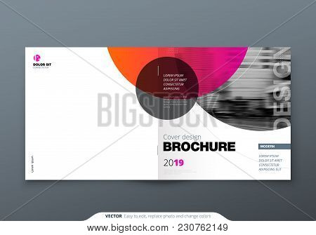 Square Brochure Design. Magenta Red Corporate Business Rectangle Template Brochure, Report, Catalog,