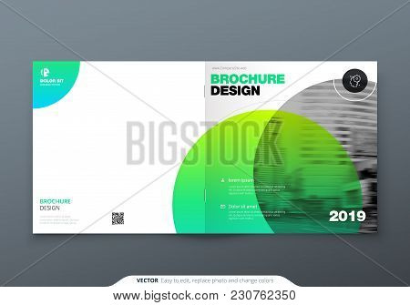 Square Brochure Design. Green Corporate Business Rectangle Template Brochure, Report, Catalog, Magaz