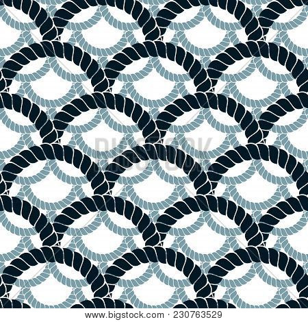 Rope Seamless Pattern, Trendy Vector Background. Weaving Or Fishing Net Macro Detailed Endless Illus