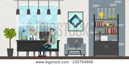 Office Interior Room. Business People On Meeting.